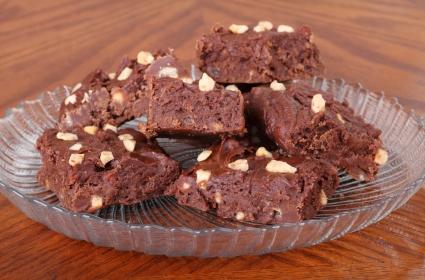 Chocolate fudge on a plate