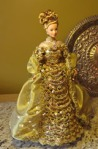 Custom Barbie in early 1900s gold Edwardian gown