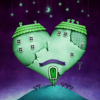Heart-shaped house illustration