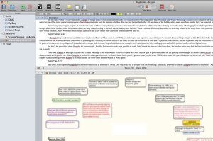 Scapple graph added to a Scrivener document and viewed with split screen