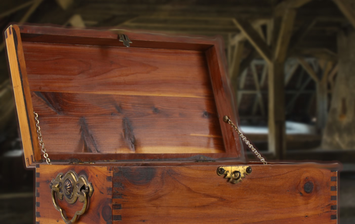 Cedar Chest with old attic in the background