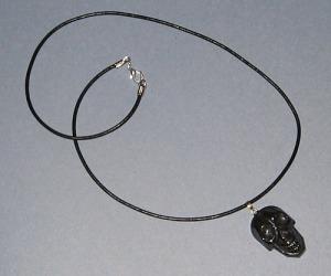 Hematite Skull Pendant on Black Leather Cord
