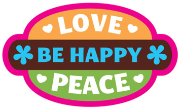 Loce, Peace, Be Happy Oval sticker in bright colors
