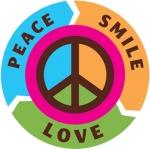 Round Logo with Peace Love Smile words around edge