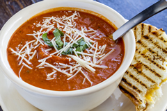 Homemade tomato soup with sandwiches