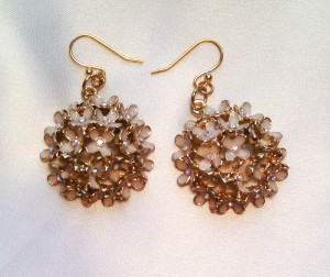 White and Gold Floral Earrings