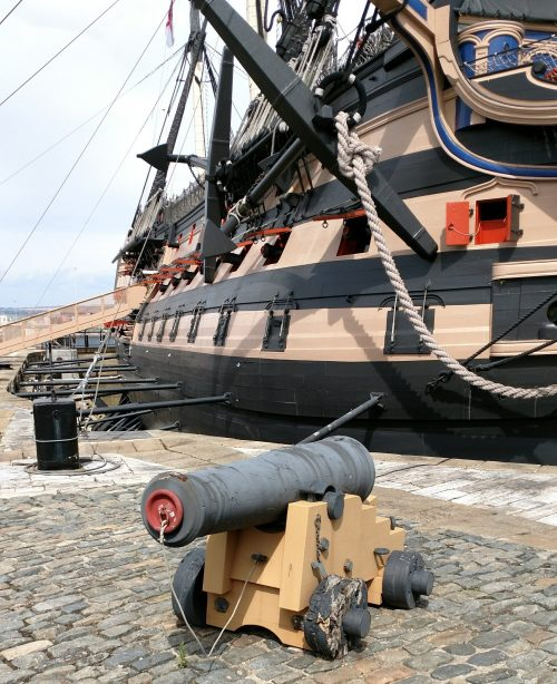 Cannon outside the HMS Victory